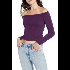 bp Off Shoulder Crop Top purple, long sleeve Med
